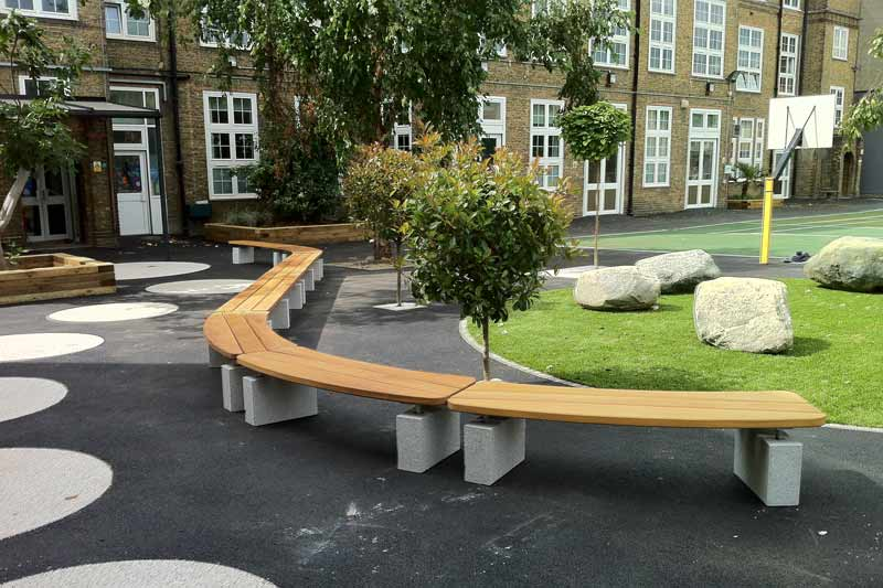 Having already developed a straight bench we were asked to develop a curved bench that matched the original design but allowed for some creative use in the layout. All images, drawings and copyright are the property of Langley Marketing Ltd.