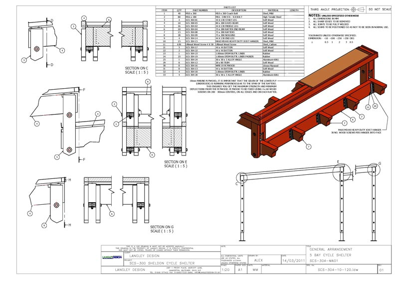 Fabrication details for the joints. All images, drawings and copyright are the property of Langley Marketing Ltd.