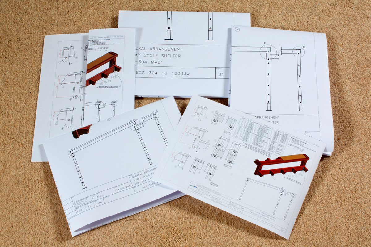 Layout showing the typical method folding different drawing sizes. Sizes shown are A3 up to A0